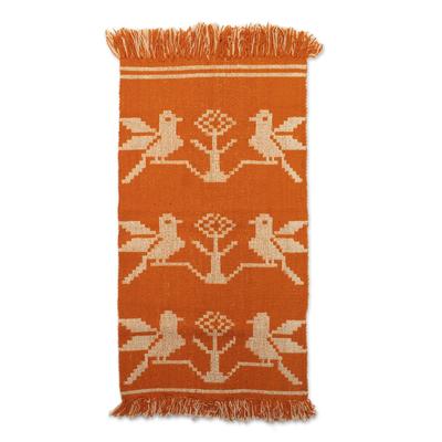 Geometric Red-Orange Bird Wool Area Rug from Peru (2x3.5)