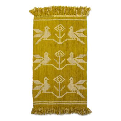 Geometric Golden Yellow Bird Wool Area Rug from Peru (2x3.5)