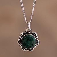 Chrysocolla pendant necklace, 'Vintage Floral' - Silver Chrysocolla Floral Pendant Necklace from Peru