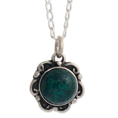 Silver Chrysocolla Floral Pendant Necklace from Peru