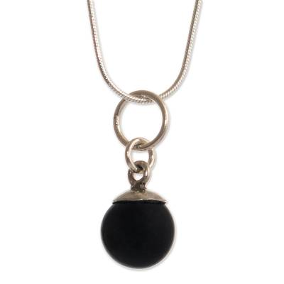 Onyx pendant necklace, 'Mysterious Light' - Black Onyx Bead Silver Pendant Necklace from Peru
