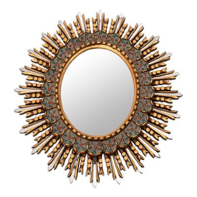 Hand Painted Oval Wall Mirror