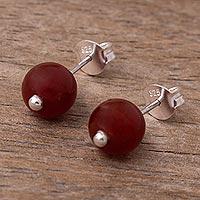 Carnelian stud earrings, 'Soul Fire' - Natural Carnelian Bead Stud Earrings From Peru