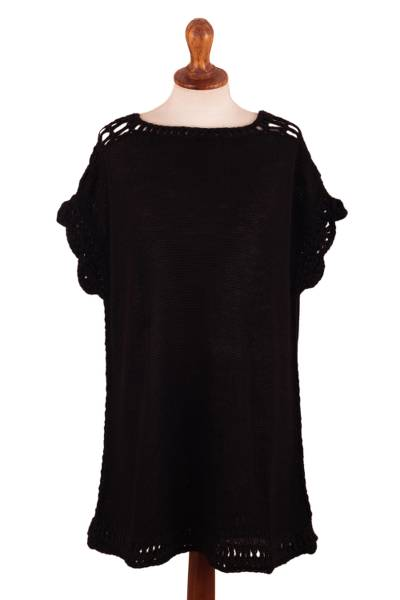 Knitted Short Sleeve Baby Alpaca Poncho in Black from Peru