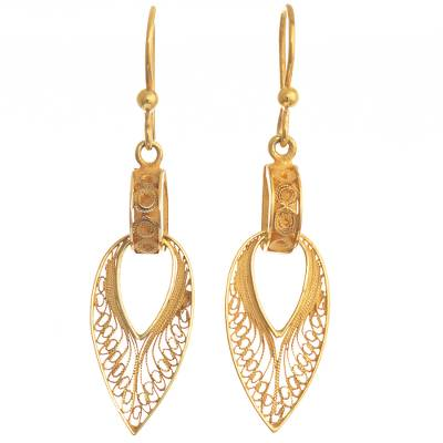 Gold-plated filigree dangle earrings, 'Talara Treasure' - Hand Crafted 24k Gold-Plated earrings