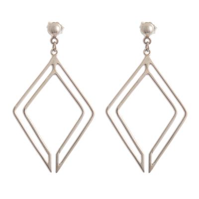 Diamond-Shaped Sterling Silver Earrings
