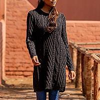 100% baby alpaca sweater, 'Long Lines in Charcoal' - Charcoal Alpaca Tunic Sweater Dress