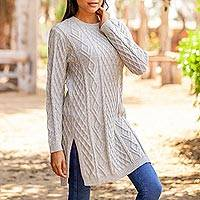 100% baby alpaca sweater, 'Long Lines in Natural' - Baby Alpaca Neutral Tunic Sweater Dress