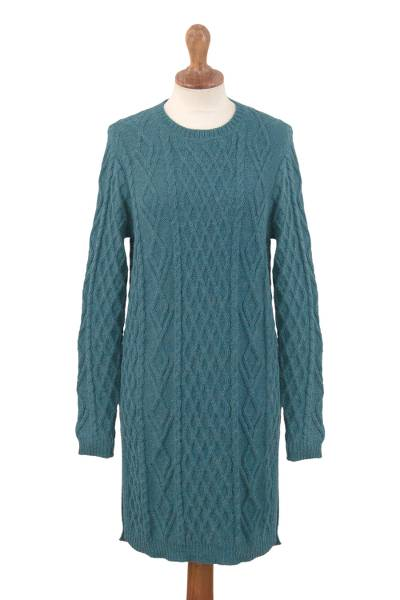 100% baby alpaca sweater dress, 'Winter Teal' - Baby Alpaca Teal Cable Knit Tunic Sweater Dress
