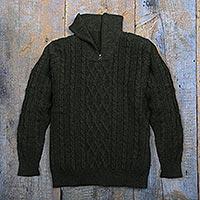 Men's 100% alpaca pullover sweater, 'Woodland Walk in Moss' - Men's Zip-Neck Alpaca Sweater
