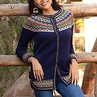 100% alpaca cardigan sweater, 'Blue Peru' - 100% Alpaca Dark Blue Tunic-Style Button-Down Sweater