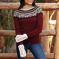100% alpaca sweater, 'Mountain Snowflakes in Brick' - Turtleneck 100% Alpaca Sweater