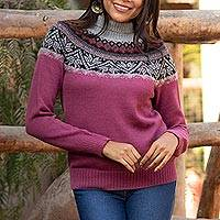 100% alpaca sweater, 'Mountain Snowflakes in Rose' - Turtleneck Sweater in 100% Alpaca