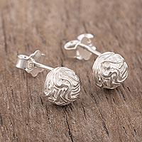 Sterling silver stud earrings, 'Mountain Maze' - Modern Sterling Stud Earrings
