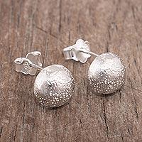 Sterling silver stud earrings, 'Moonscape' - Stippled Sterling Silver Earrings