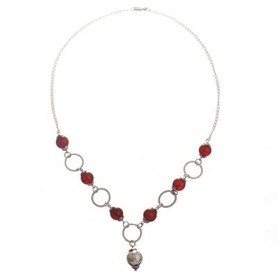 Carnelian pendant necklace, 'Shades of Sunset' - Natural Carnelian Pendant Necklace