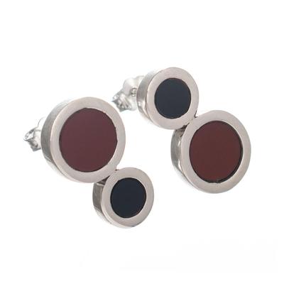Modern Jasper and Obsidian Earrings
