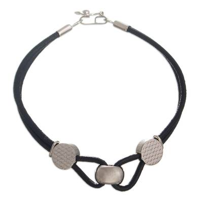 Leather and sterling silver pendant bracelet, 'Souls United' - Sterling Silver and Leather Bracelet