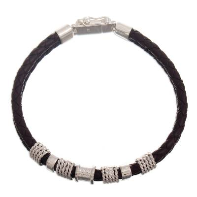 Leather and sterling silver pendant bracelet, 'Texture Trends' - Leather and Silver Wristband Bracelet