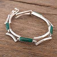 Chrysocolla link bracelet, 'Andean Arcs' - Link Bracelet with Chrysocolla