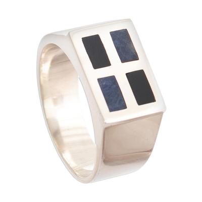 Men's sodalite and obsidian signet ring, 'In the Window' - Men's Gemstone Signet Ring