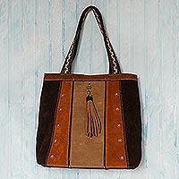 Wool-accented suede shoulder bag, 'Cusco Bohemian'