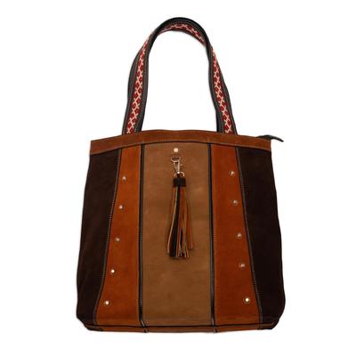 Wool-accented suede shoulder bag, 'Cusco Bohemian' - Hand Crafted Suede Shoulder Bag