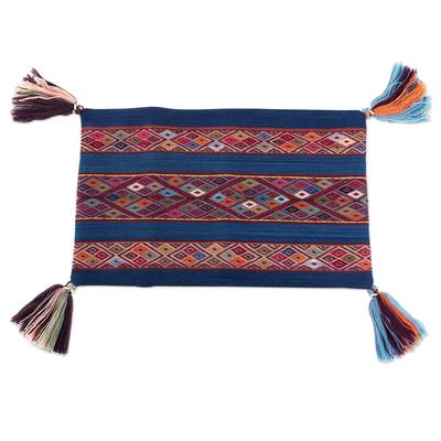 Backstrap Handwoven Colorful Blue Alpaca Cushion Cover