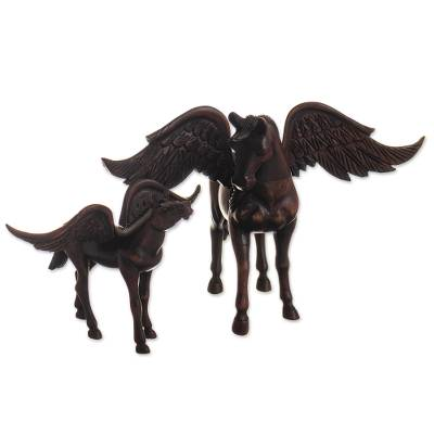Set of Two Hand Carved Pegasus Horse Sculptures from Peru
