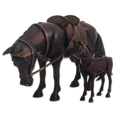 Hand Carved Horse Family Sculpture (Pair) from Peru