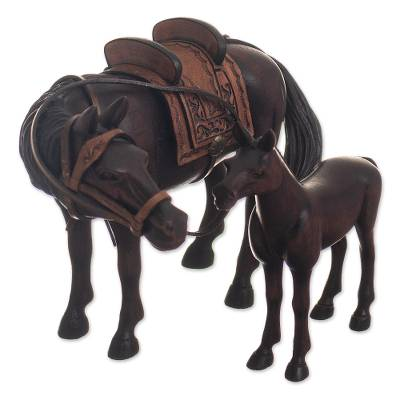 2 Hand Carved Horse Mother and Foal Sculptures from Peru
