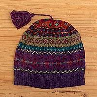 100% alpaca knit hat, 'Jewel of the Andes'