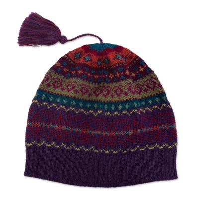100% alpaca knit hat, 'Jewel of the Andes' - Jewel-Toned 100% Alpaca Knit Hat