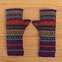 100% alpaca knit fingerless gloves, 'Jewel of the Andes' - Multicolored Fingerless 100% Alpaca Gloves