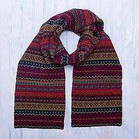 100% alpaca knit  scarf, 'Jewel of the Andes'