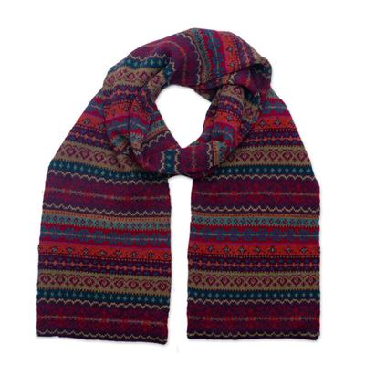 100% alpaca knit  scarf, 'Jewel of the Andes' - Multicolored 100% Alpaca Scarf