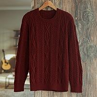 Men's 100% alpaca pullover sweater, 'Field and Forest' - Dark Red Men's 100% Alpaca  Sweater