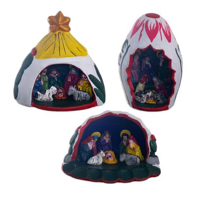 Hand Painted Nativity Scenes (Set of 3)