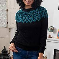 100% alpaca pullover sweater, 'Modern Geometry' - Knit 100% Alpaca Sweater