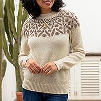 100% alpaca pullover sweater, 'Modern Geometry in Taupe' - Pullover Sweater in 100% Alpaca