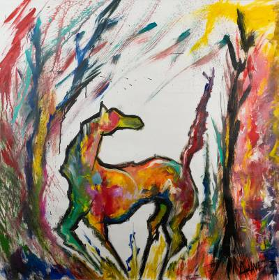 Original Abstract Horse Painting