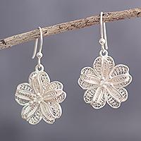 Sterling silver filigree dangle earrings, 'Floral Treasure' - Sterling Filigree Dangle Earrings