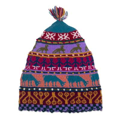 Multicolored Hand Knit Wool Hat