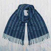 100% baby alpaca scarf, 'Huancayo Legacy' - Blue Striped Baby Alpaca Scarf