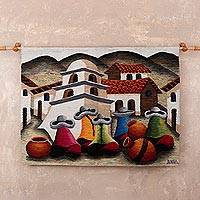 Wool tapestry, 'Gathering in the Andes' - Village Scene Wool Tapestry