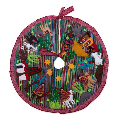 Multicolored Nativity-Themed Tree Skirt