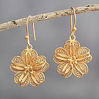 Gold-plated filigree dangle earrings, 'Floral Treasure' - 24k Gold-Plated Flower Earrings