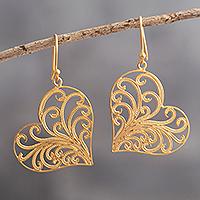 Gold-plated filigree dangle earrings, 'Flourishing Heart' - Heart-Shaped Gold-Plated Earrings