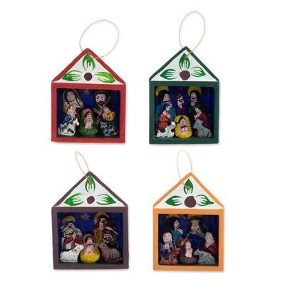 Hand-Painted Retablo Nativity Ornaments (Set of 4)
