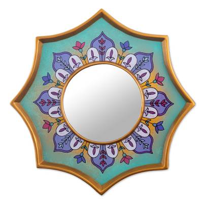 Hand-Painted Small Accent Mirror